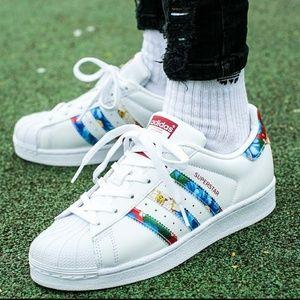 Adidas Superstar Floral Sneaker Red White 10 Women
